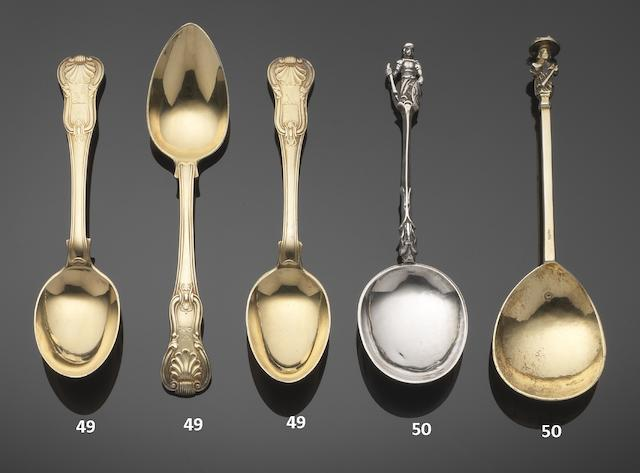 Six George III silver-gilt King's Hour Glass pattern dessert spoons, by Paul Storr, London 1811 - 1815,  (6)