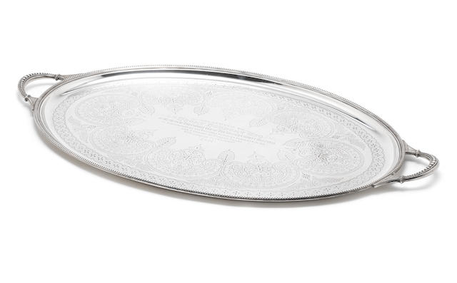 A Victorian silver two-handled tray by Harrison Bros & Howson, Sheffield 1889