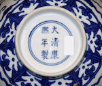 A Chinese blue and white bowl, bearing Kangxi mark, a Meiping, and two albums of pith paintings