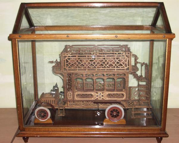 A fine wooden fretwork model of of a Edwardian London 'B' Type Omnibus, circa 1914,