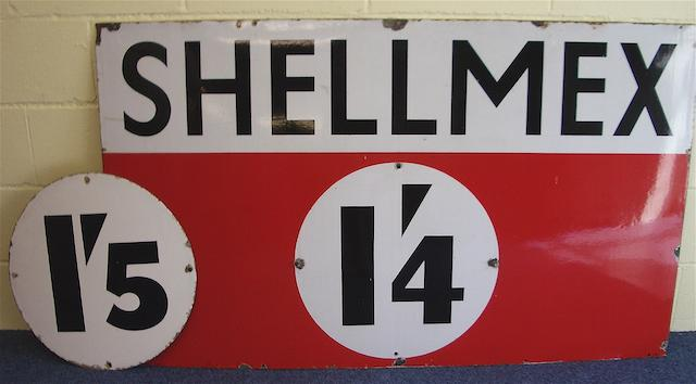 A Shellmex enamel price sign, 1928,