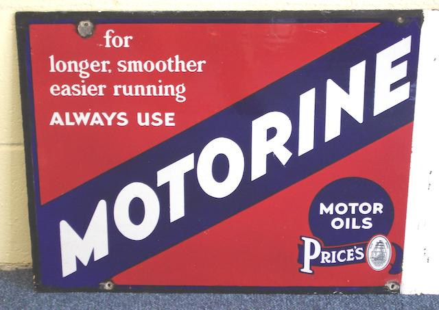 A Price's Motor Oils Motorine double-sided enamel sign, 1930s,