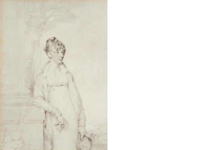 The artist signing 'A. Bond', dated 1805 A Lady, standing in a landscape beside a stone column, wearing coat, dress and chemise with frilled open collar, her bonnet in her be-gloved left hand, her right elbow resting on the plinth of the column, her other glove held loosely in her right hand, her hair upswept, loosely curled and plaited