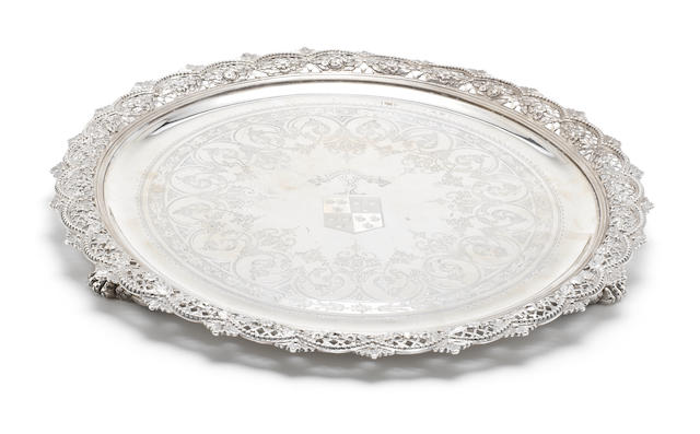 A Victorian silver salver by Stephen Smith, London 1875, with later Dutch duty import mark