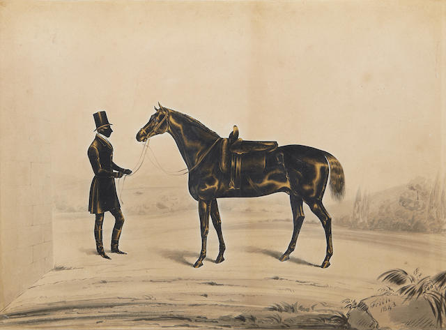 Royal Victoria Gallery (British, after 1837-circa 1854) A full-length silhouette of a Gentleman, profile to the right, holding his horse by the reins and wearing coat, breeches, Hessian boots, tall hat, white chemise and stock