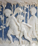 A large framed Della Robbia 'Jog On' tile panel, signed by E.L.M Rope Dated 1896