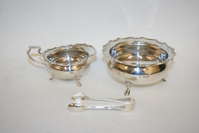 A silver sugar bowl and milk jug Sheffield 1919  (3)