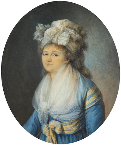 Pierre Noel Violet (French, 1749-1819) A portrait of the artist's wife, Marguerite Violet (née Becret) (1769-1841), wearing blue dress with full-length sleeves, matching blue and yellow striped shawl, secured at her waist with a ribbon bow, white lace fichu edged with embroidery, gold hooped earring, her hair lightly powdered, partially upswept and dressed with a white lace spotted bandeau