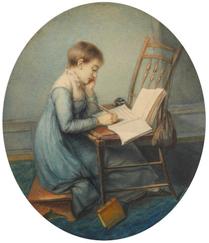 Pierre Noel Violet (French, 1749-1819) A portrait of the artist's daughter, Maria Brook Pulham (née Violet) (1794-1868), in profile to the right and seated on a stool before a chair and studying, wearing blue dress with white lace fill-in, frilled collar and a column of buttons running down her back, gold hooped earring, white stockings and black shoes, her brown hair cropped short, writing with a quill in her right hand, an open volume propped up against the back of the chair before her
