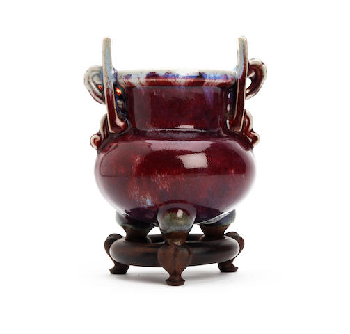 A Chinese flambé-glazed tripod censer 19th Century