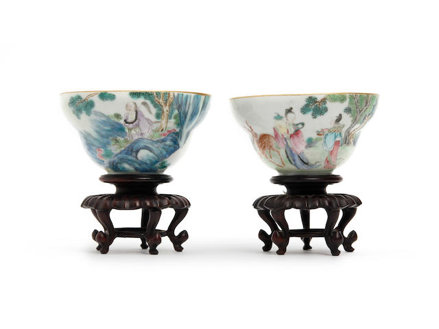 A pair of famille rose bowls  19th Century