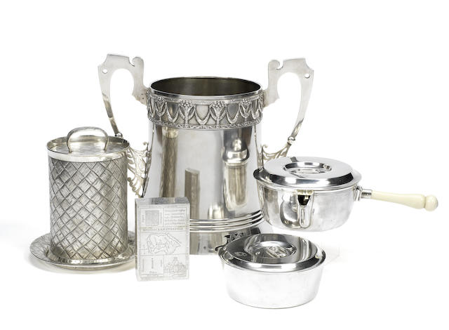 A trompe l'œil silver caviar serving jar, cover and stand<BR />V. Morozov, maker JA, St. Petersburg, circa 1899