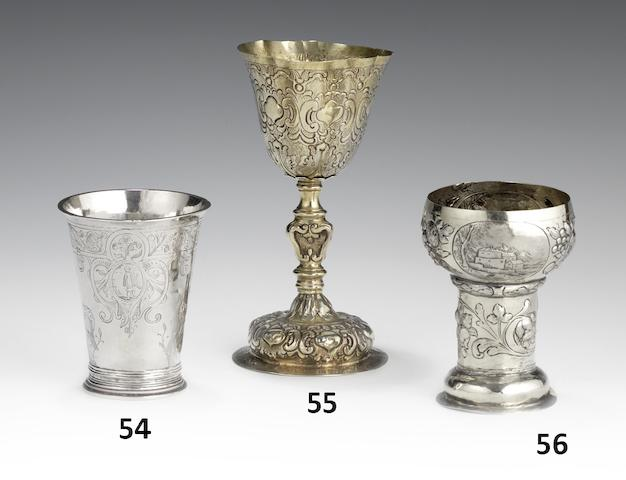 An 18th century Italian silver-gilt goblet maker's mark VL Venice, stamped thrice with town mark and once with maker's mark
