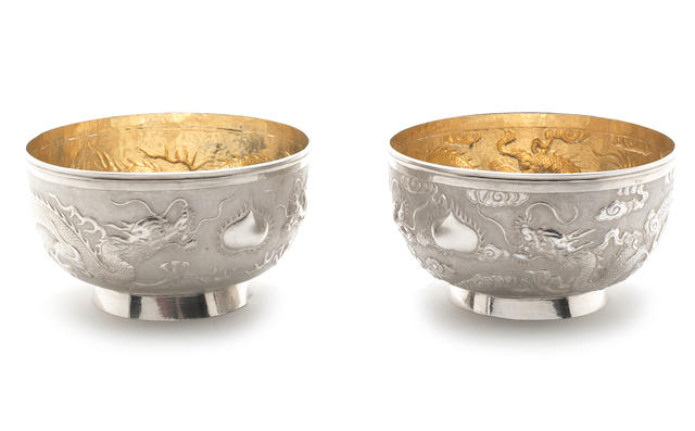 A pair of late 19th/early 20th century Chinese export silver bowls maker's mark 'T H' mistruck, also stamped '90' with character mark  (2)