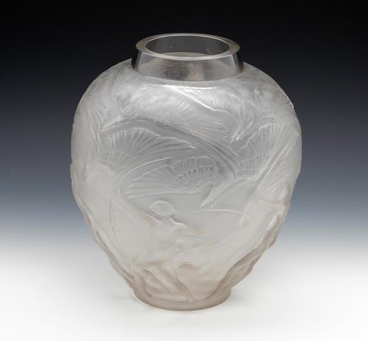 A René Lalique 'Archers' design vase  Circa 1921