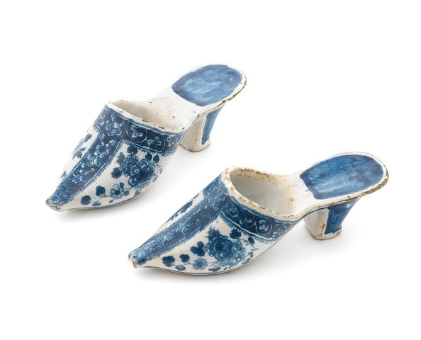 A pair of Dutch Delft slippers, mid 18th century