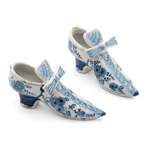A pair of Dutch Delft shoes, circa 1730