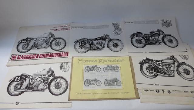 Two sets of prints of pre-War motorcycles, after Helmut Krackowizer,