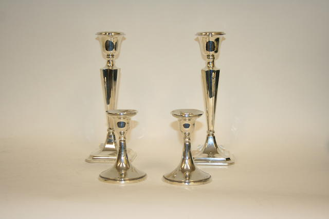 A pair of silver candlesticks Birmingham 1913  (4)