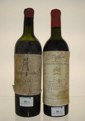 Chateau Latour 1937 (1)<BR />Chateau Mouton Rothschild  1962 (1)