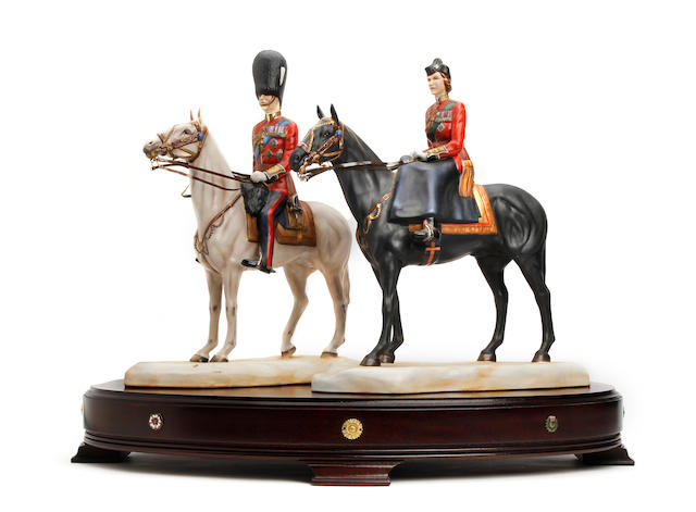Two Michael Sutty Royal commemorative silver jubilee  Trooping the colour figures