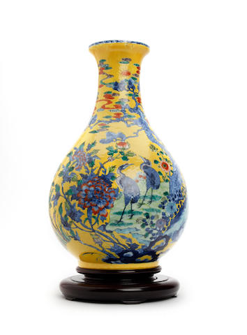 A Chinese yellow ground vase  19th Century