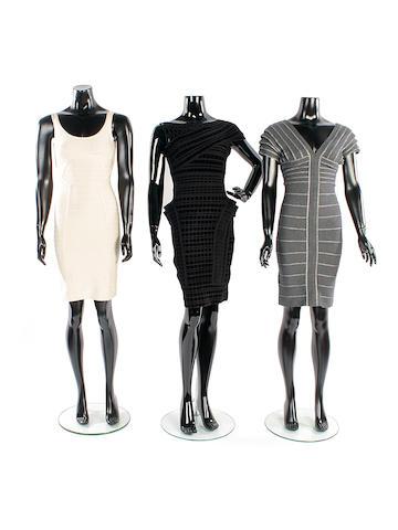 Three Hervé Léger bandage dresses