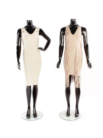 Two Hervé Léger bandage dresses