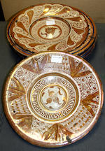 Two small Catalan Hispano-Moresque dishes, probably Triana, and eight 19th century Hispano-Moresque large dishes