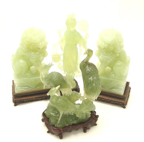Four Chinese carved mineral pieces