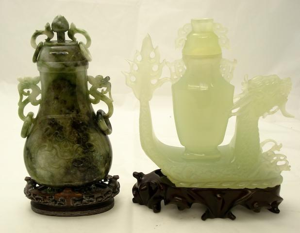 Two carved mineral vases