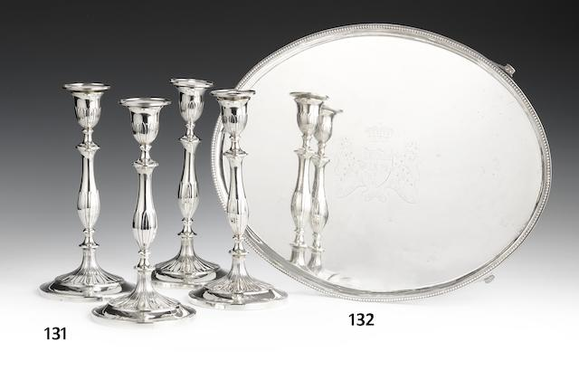 A set of four George III silver candlesticks by John Parsons, Sheffield 1793