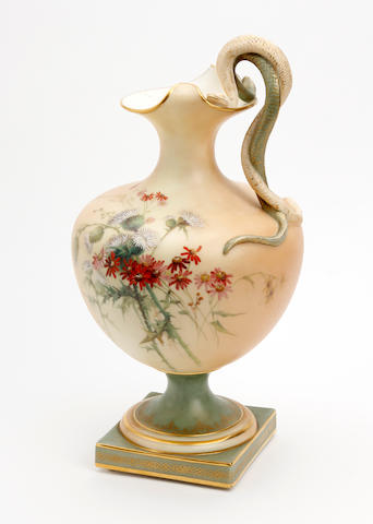 A Royal Worcester blush ivory vase Dated 1899