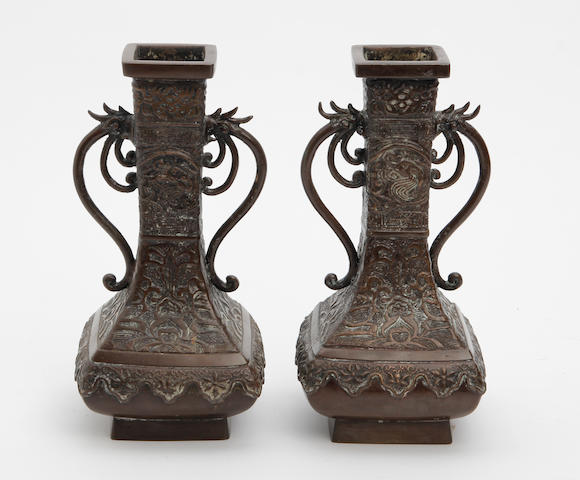 A pair of Chinese bronze archaistic form vases Late 19th/early 20th Century