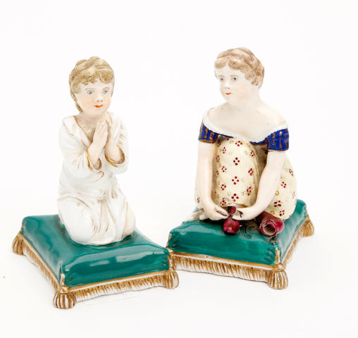A pair of Minton poecelain figures  Circa 1835-40