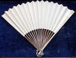 A folding Chinese fan, Zhou Piji, early 20th century, Lady Wenji's Return 1940