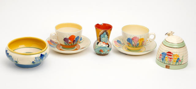 A collection of Clarice Cliff items Circa 1928-35