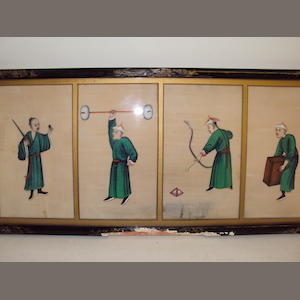 Chinese School- a collection of Chinese ricepaper paintings in four frames