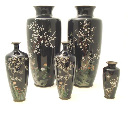 Two pairs of cloisonné vases and another Circa 1900