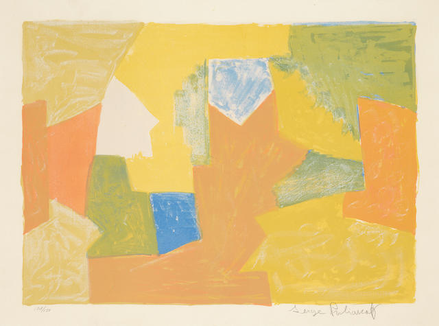 Serge Poliakoff (Russian, 1900-1969) Composition Jaune, Orange et Verte (Riviere 14) Lithograph printed in colours, 1957, on BFK Rives, signed and numbered 108/150 in pencil, printed by Pons, Paris, published by Nesto Jacometti, l'Oeuvre Gravée, Zurich, with margins, 395 x 550mm (15 1/2 x 21 5/8in)(I)
