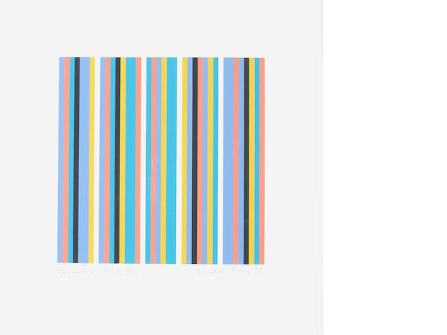 Bridget Riley (British, born 1931) Serpentine Print (Schubert 39) Screenprint in colours, 1999, on wove, signed, dated, titled and numbered 5/200 in pencil, printed by Artizan Editions, Hove, with full margins, 255 x 255mm (10 x 10in)(I)