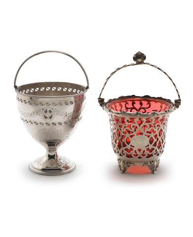 A George III  silver  swing-handled sugar basket by Robert Hennell, London 1782,  (2)