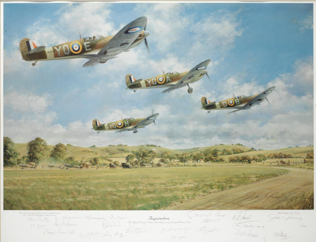 'Inspiration', a Douglas Bader commemorative limited edition print after John Young, signed by twenty RAF pilots,