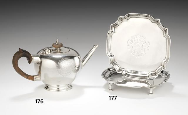A George I silver small bullet-shaped teapot, by Anthony Nelme London 1716