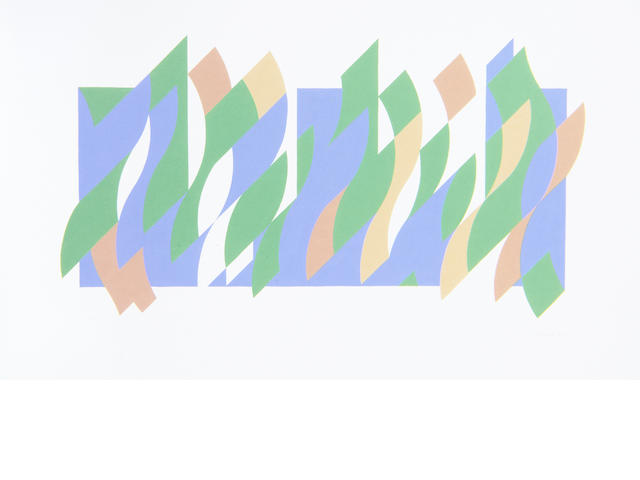 Bridget Riley (British, born 1931) Wall Painting 1 Screenprint in colours, 2007, on wove, signed and numbered from the edition of 150 in pencil, printed by Artizan Editions, Hove, with full margins, 560 x 915mm (22 x 36in)(SH)
