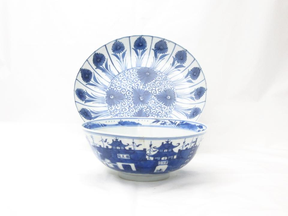 A collection of blue and white porcelain 17th and 18th century