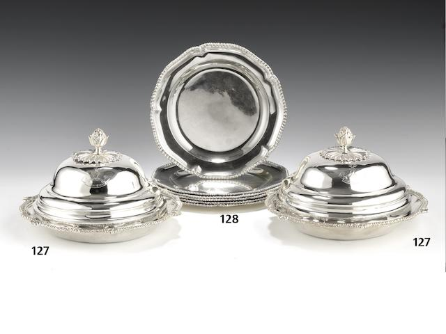 A set of six George III silver dessert plates by Andrew Fogelburg, London 1776  (6)