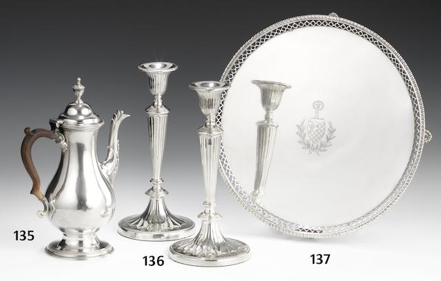 A pair of George III silver candlesticks by Matthew Fenton, Richard Creswick & William Watson, Sheffield 1782  (2)