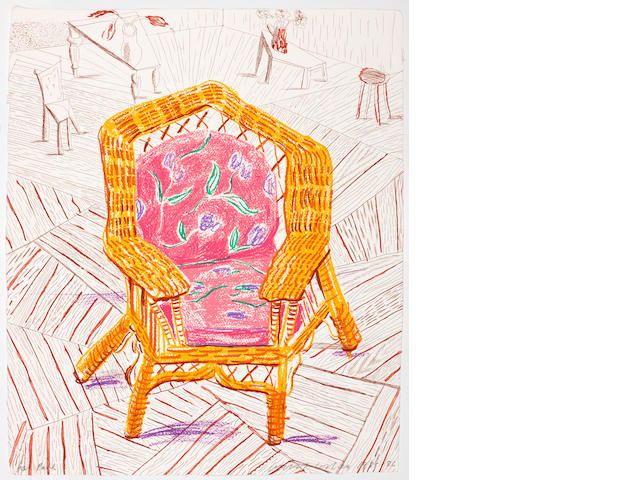 David Hockney R.A. (British, born 1937) Number One Chair, from the 'Moving Focus' Series Lithograph and etching printed in colours, 1985-86, on handmade paper, signed and dated in pencil, a proof aside from the edition of 60, published by Tyler Graphics, Los Angeles, with their blindstamp, with full margins, 559 x 476mm (22 x 18 3/4in)(SH) unframed