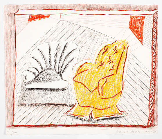 David Hockney R.A. (British, born 1937) A Picture of Two Chairs, from the 'Moving Focus' Series Lithograph and etching printed in colours, 1985-86, on handmade paper, signed and dated in pencil, a proof aside from the edition of 60, published by Tyler Graphics, Los Angeles, with their blindstamp, with full margins, 476 x 559mm (22 x 18 3/4in)(SH) unframed